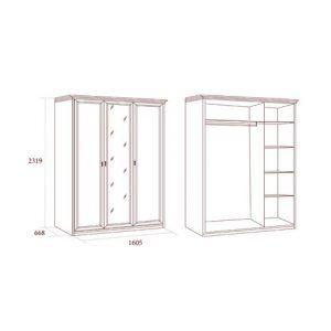 коллекция екатерина, шкаф трехдверный, шкаф с зеркалом