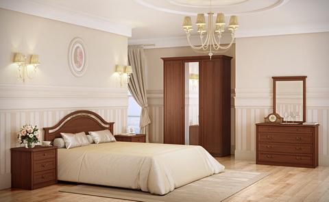 коллекция екатерина орех, спальня, кровать, шккаф, прикроватная тумба, комод, зеркало