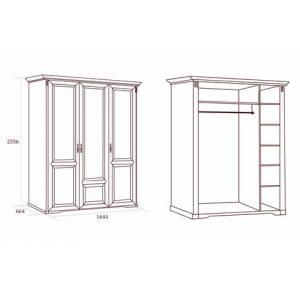 коллекция джоконда, шкаф, трехдверный шкаф, шкаф без зеркал, шкаф для платьев и белья