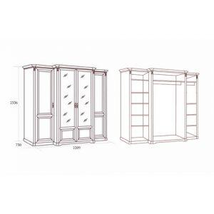 коллекция джоконда, шкаф, четырехдверный шкаф, шкаф для платья и белья