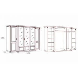 коллекция джоконда, шкаф, пятидверный шкаф, шкаф для платья и белья