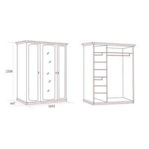 коллекция луиджи, шкаф трехдверный, шкаф с зеркалом