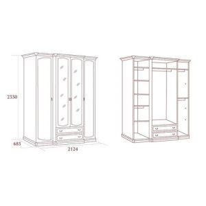 коллекция луиджи, шкаф четырехдверный, шкаф с зеркалом