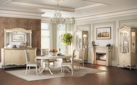 коллекция престиж, гостиная, обеденный стол, стул, комод, зеркало, витрина, тумба ТВ